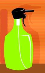 Illustration of a green colour spray bottle