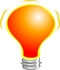 Illustration of orange colour bulb