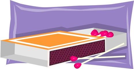 Illustration of a opened matchbox