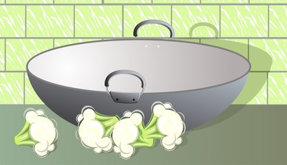 Illustration of a cooking vessel and cauliflower
