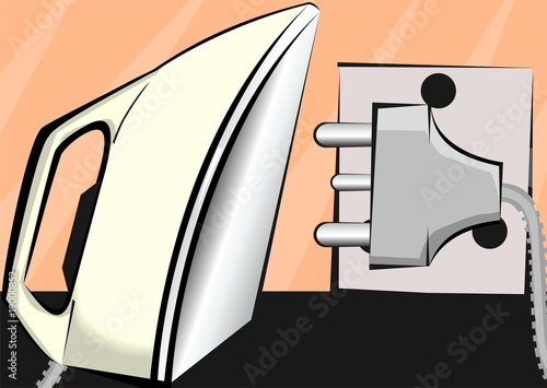 Illustration of Iron box and electric pin