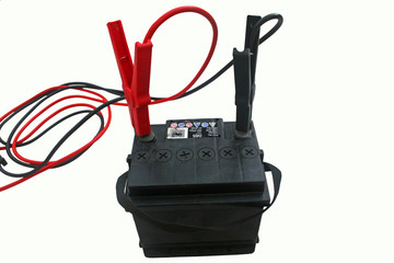 jump leads on battery