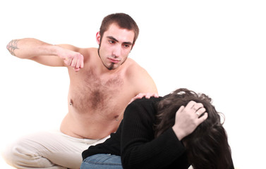 Home violence - young man attacking her wife
