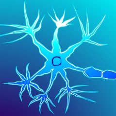 Illustration of neuron in blue background