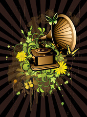 Floral abstract wiyh gramophone
