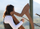 Harp being played by a Young Lady