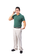 Uniformed worker arguing on the phone