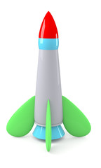 Cartoon rocket isolated on white background