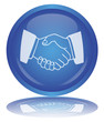 Handshake Button (Cooperation -Teamwork - Agreement - Vector)