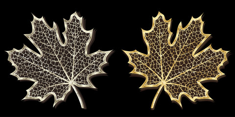 Vector silver and golden hand-made maple leaves