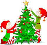 Elves decorate a Christmas Tree poster
