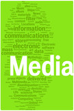 Media word cloud illustration poster