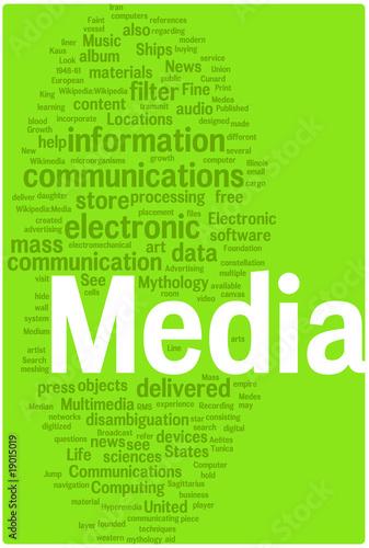poster of Media word cloud illustration