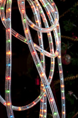 Detail of a tube rope with colored LED for decorate switched on