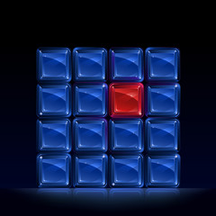 Group of blue square glass blocks with one glowing red