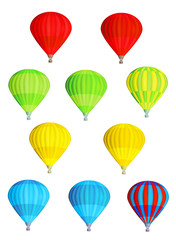 Set of colorful isolated vector hot air balloons