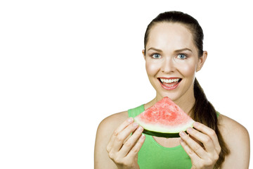Beautiful woman eating water melon