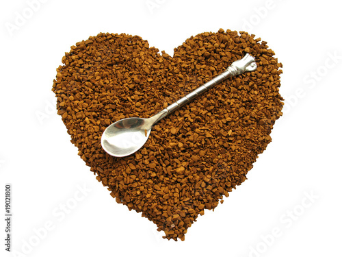 Natural coffee in the form of heart.