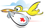 Illustration of bird flying with medical bag