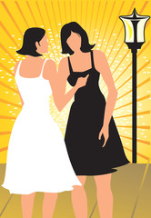Silhouette of two ladies standing in yellow beam light