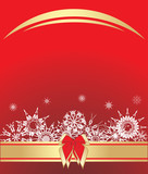 Snowflakes with bow on the red background. Vector