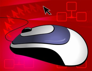 Illustration of Optical mouse with chord