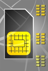 Illustration of a sim card using in mobile phones