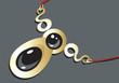 Illustration of a golden necklace with black gemstones