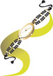 Illustration of beautiful stylish ladies watch with pearl strap