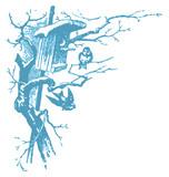 winter birds engraving (vector) poster