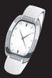 Illustration of a stylish silver wrist watch
