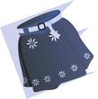 Illustration of blue ladies skirt with white belt