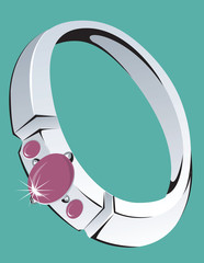 Illustration of platinum ring with ruby stone