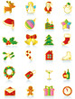 Set of gold Christmas icons.