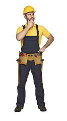 manual worker standing on white background