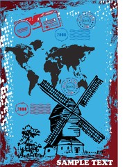 travel world postcard vector