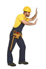 handyman in push position suitable for composition