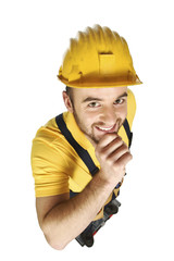 funny portrait of young handyman