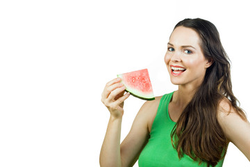 Attractive girl holding watermelon and smiling