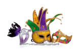 Fototapety Several mardi gras masks on white with copy space