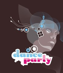 vector illustration girl listening music at dance party