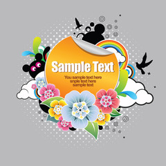 Sticker for text with floral elements