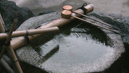 Basin in front of Japanese temple