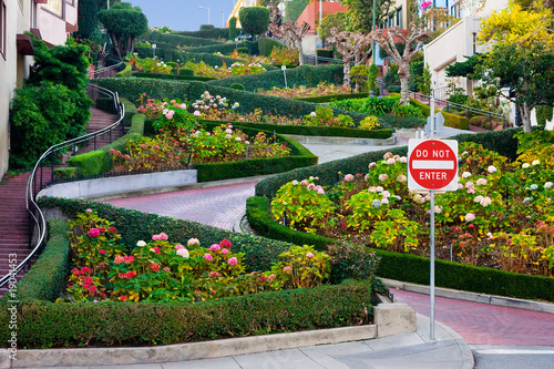 Deurstickers San Francisco Lombard Street in San Francisco