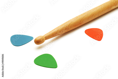 drumstick and guitar picks