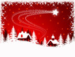 Abstract Christmas landscape on red background (set 1)