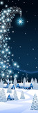 Fototapety Blue Christmas vertical banner with a comet