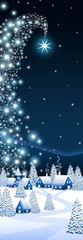 Blue Christmas vertical banner with a comet