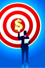 Target profits background with business executive