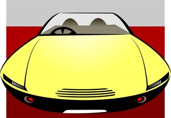 Illustration of a yellow car